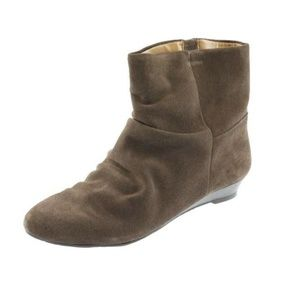 Nine West Brown Suede Wedge Ankle Boots
